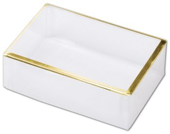 Clear Gold Trimmed Boxes, 2-Piece, 4 1/2 x 3 x 1 3/8