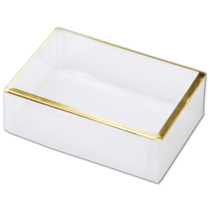Clear Gold Trimmed Boxes, 2-Piece, 4 1/2 x 3 x 1 3/8""
