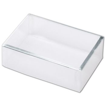 Clear Silver Trimmed Boxes, 2-Piece, 4 1/2 x 3 x 1 3/8