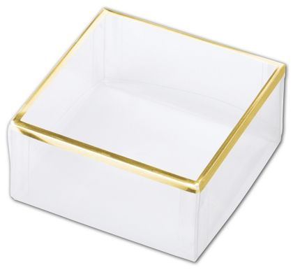 Clear Gold Trimmed Boxes, 2-Piece, 3 x 3 x 1 3/8""