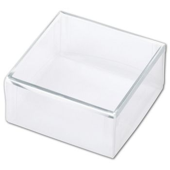 Clear Silver Trimmed Boxes, 2-Piece, 3 x 3 x 1 3/8