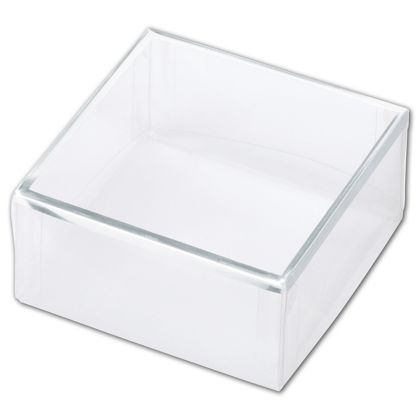 Clear Silver Trimmed Boxes, 2-Piece, 3 x 3 x 1 3/8""