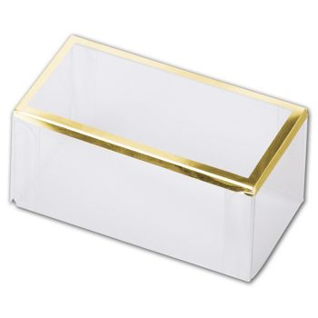 Clear Gold Trimmed Boxes, 2-Piece, 3 x 1 1/2 x 1 3/8