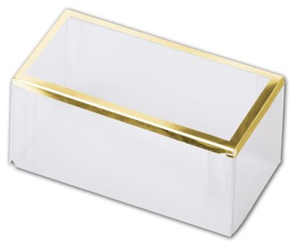 Clear Gold Trimmed Boxes, 2-Piece, 3 x 1 1/2 x 1 3/8""