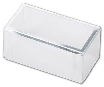 Clear Silver Trimmed Boxes, 2-Piece, 3 x 1 1/2 x 1 3/8