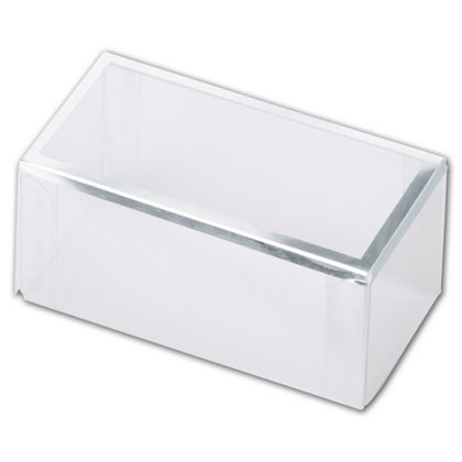 Clear Silver Trimmed Boxes, 2-Piece, 3 x 1 1/2 x 1 3/8""