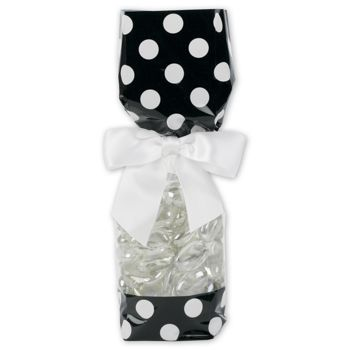 Black and White Cello Bags, 2 x 1 7/8 x 9 1/2