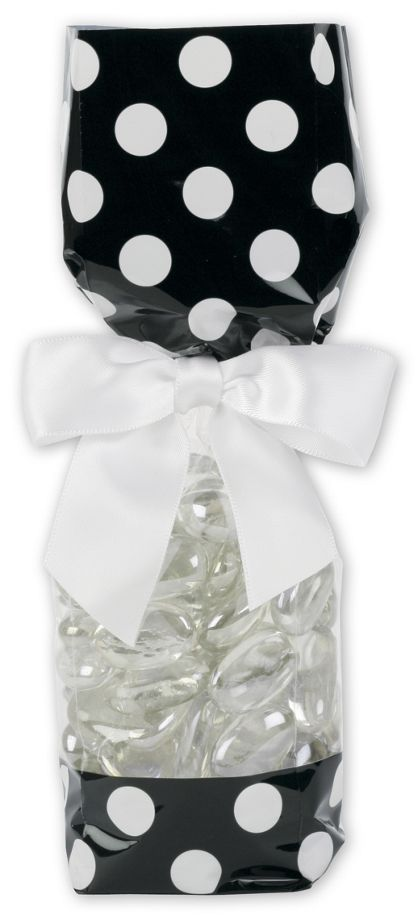 Black and White Cello Bags, 2 x 1 7/8 x 9 1/2""