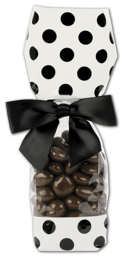 White and Black Cello Bags, 2 x 1 7/8 x 9 1/2""