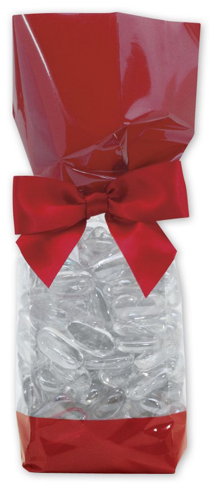 """Red Solid Band Cello Bags, 2 x 1 7/8 x 9 1/2"""""""