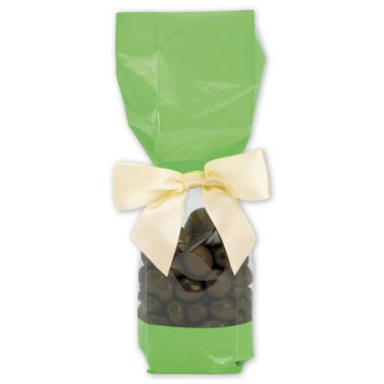 Green Solid Band Cello Bags, 2 x 1 7/8 x 9 1/2""