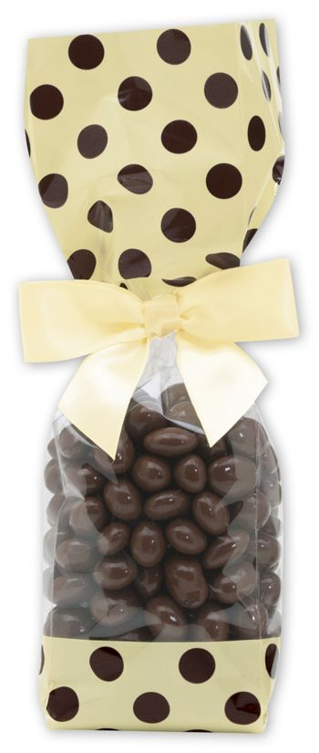 Brown and Cream Cello Bags, 2 5/8 x 1 7/8 x 10 3/4