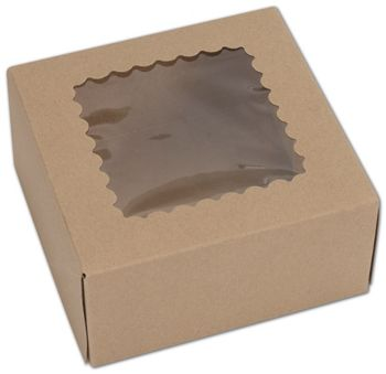 Kraft Windowed Bakery Boxes, 1 Piece, 6 x 6 x 3