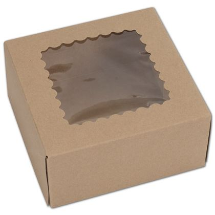 Kraft Windowed Bakery Boxes, 1 Piece, 6 x 6 x 3""