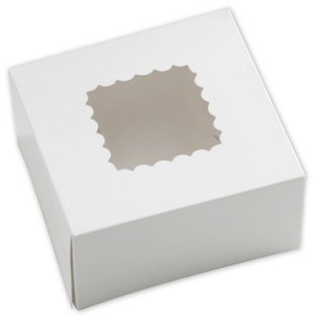 White Windowed Bakery Boxes, 1 Piece, 6 x 6 x 3