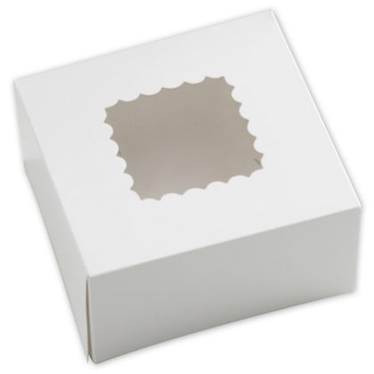 White Windowed Bakery Boxes, 1 Piece, 6 x 6 x 3""