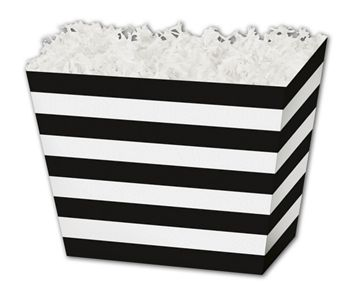 Black & White Stripes Angled Basket Boxes, 6 3/4x4 1/2x5