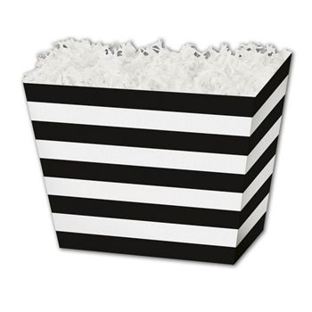 Black & White Stripes Angled Basket Boxes, 6 3/4x4 1/2x5""