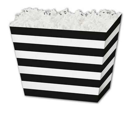 "Black & White Stripes Angled Basket Boxes, 6 3/4x4 1/2x5"""