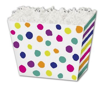 Painted Dots & Stripes Angled Basket Boxes, 6 3/4x4 1/2x5