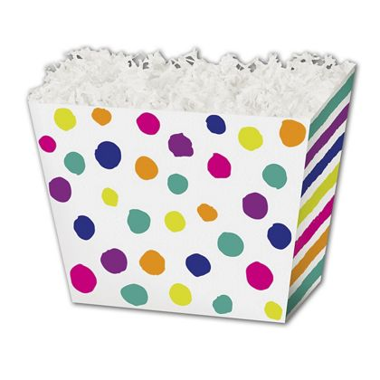 Painted Dots & Stripes Angled Basket Boxes, 6 3/4x4 1/2x5""