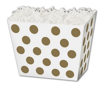 Metallic Gold Dots Angled Basket Boxes, 6 3/4 x 4 1/2 x 5