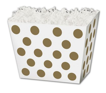 "Metallic Gold Dots Angled Basket Boxes, 6 3/4 x 4 1/2 x 5"""