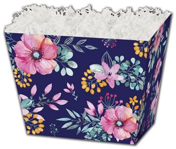 Navy Floral Angled Basket Boxes, 6 3/4 x 4 1/2 x 5