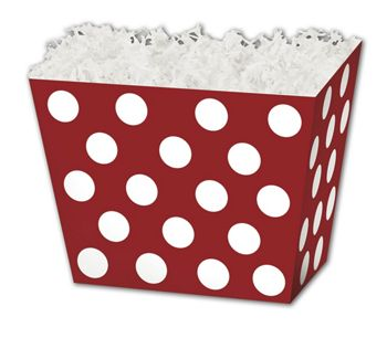 Red & White Dots Angled Basket Boxes, 6 3/4 x 4 1/2 x 5