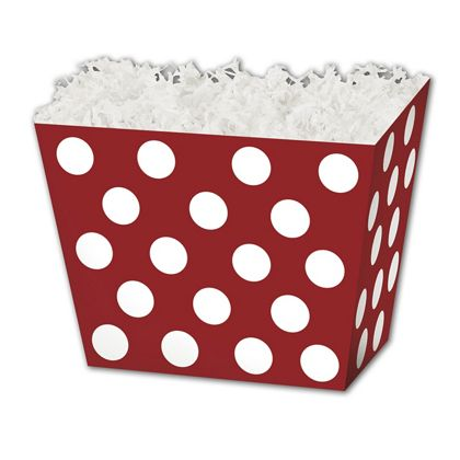 Red & White Dots Angled Basket Boxes, 6 3/4 x 4 1/2 x 5""