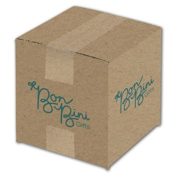 Kraft Printed Corrugated Boxes, 1 Color/2 Sides, 6x6x6