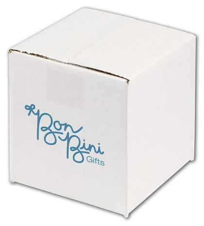 White Printed Corrugated Boxes, 1 Color/1 Side, 6 x 6 x 6""