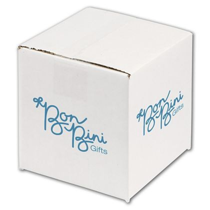"""White Printed Corrugated Boxes, 1 Color/2 Sides, 6x6x6"""""""