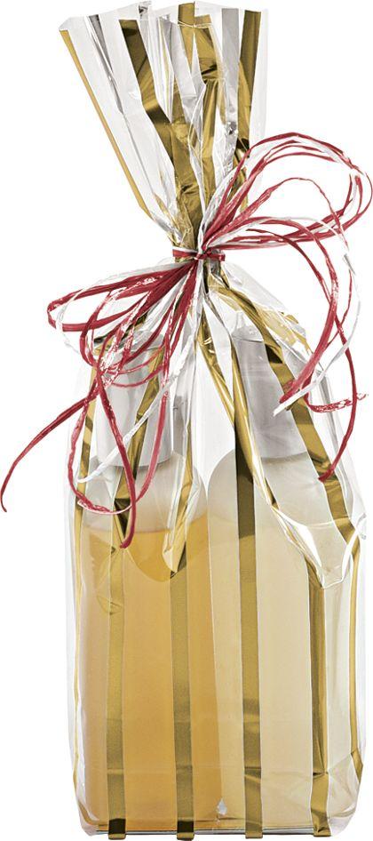 Gold Stripes Clear Flat Bottom Propylene Bags