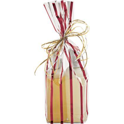 Red Stripes Clear Flat Bottom Propylene Bags