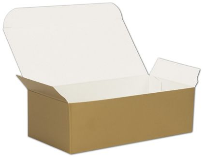Gold One-Piece Candy Boxes, 5 1/2 x 2 3/4 x 1 3/4""
