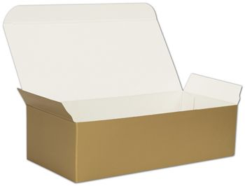 Gold One-Piece Candy Boxes, 7 x 3 3/8 x 2