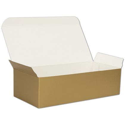 Gold One-Piece Candy Boxes, 7 x 3 3/8 x 2""