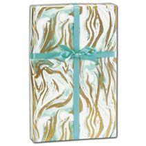 """Marbleized Mint Gift Wrap, 30"""" x 208'"""