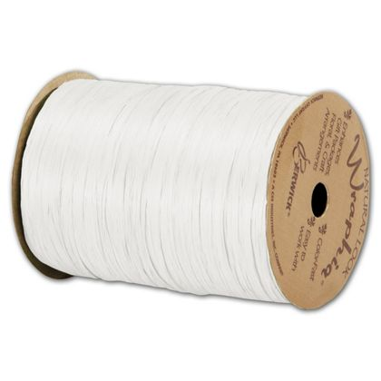 "Matte Wraphia White Ribbon, 1/4"" x 100 Yds"
