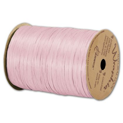"Matte Wraphia Light Pink Ribbon, 1/4"" x 100 Yds"