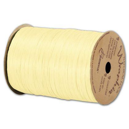 """Matte Wraphia Yellow Ribbon, 1/4"""" x 100 Yds"""