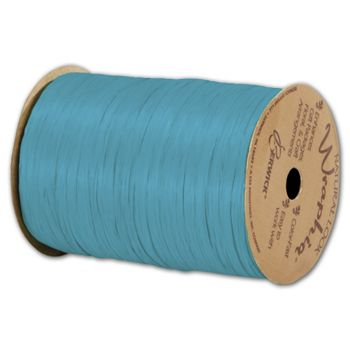 "Matte Wraphia Aqua Ribbon, 1/4"" x 100 Yds"
