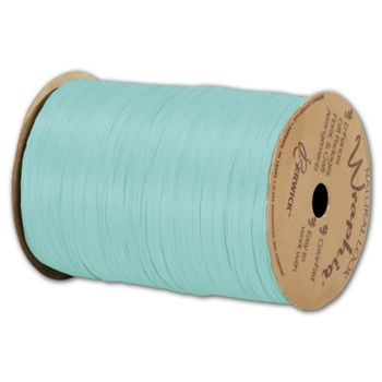 "Matte Wraphia Robin's Egg Blue Ribbon, 1/4"" x 100 Yds"