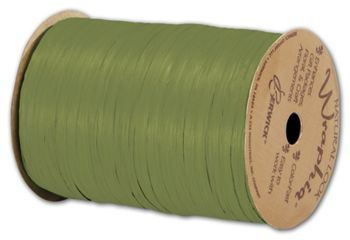Matte Wraphia Olive Green Ribbon, 1/4