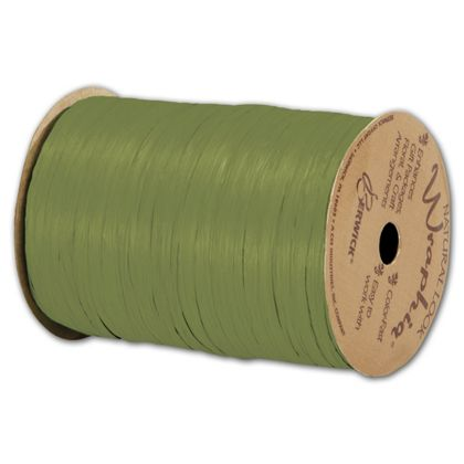 "Matte Wraphia Olive Green Ribbon, 1/4"" x 100 Yds"