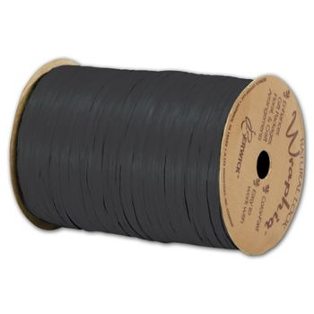 "Matte Wraphia Black Ribbon, 1/4"" x 100 Yds"