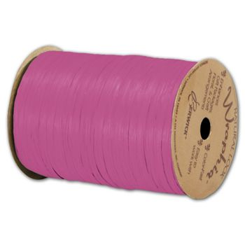 "Matte Wraphia Hot Pink Ribbon, 1/4"" x 100 Yds"