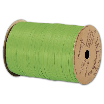 "Matte Wraphia Apple Green Ribbon, 1/4"" x 100 Yds"