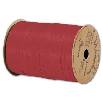 Matte Wraphia Imperial Red Ribbon, 1/4